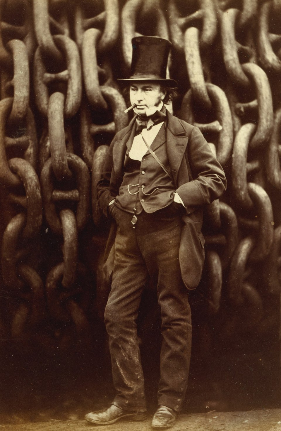 Isambard Kingdom Brunel Standing Before the Launching Chains of the Great Eastern, photograph by Robert Howlett.